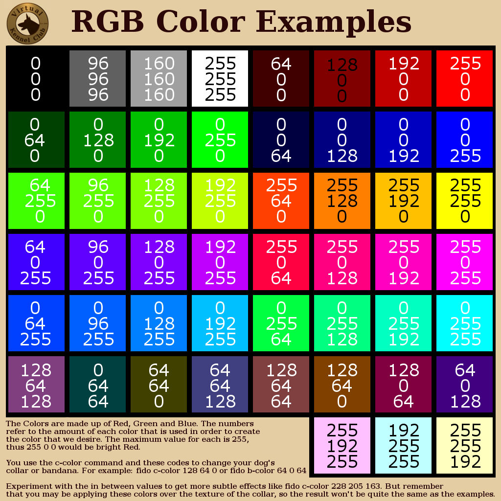 RGB Sample Color Chart
